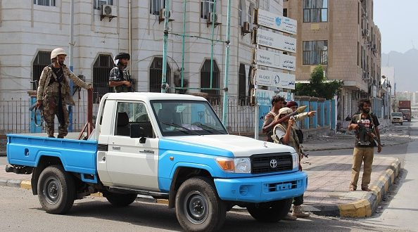 ADEN, YEMEN - JANUARY 5: Yemeni security forces take security measures after car bomb attack targeting to the governor of southern port city of Aden Aidarous al-Zubaidi's convoy, in Aden, Yemen on January 5, 2016. Yemeni officials say the governor of the southern port city of Aden Aidarous al-Zubaidi has survived a car bomb attack. (Photo by Wail Qubati/Anadolu Agency/Getty Images)